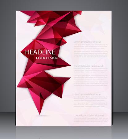 Abstract zakelijke brochure flyer met geometrische elementen, ontwerp in A4-formaat, lay-out cover design in rode kleuren. Vector Illustratie