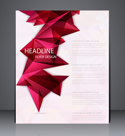Abstract business brochure flyer with geometric elements, design in A4 size, layout cover design in red colors. Illustration