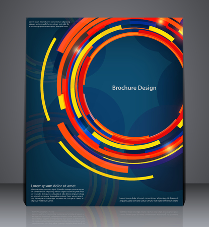 page design: Abstract digital business brochure flyer design in A4 size, layout cover design in blue colors