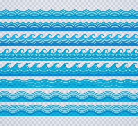 青い透明な波のパターン  イラスト・ベクター素材