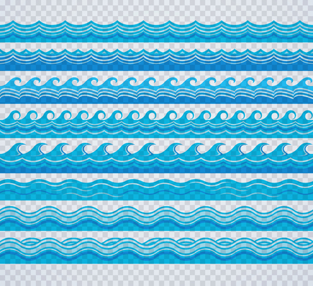 marcos decorativos: los patrones de ondas de color azul transparente