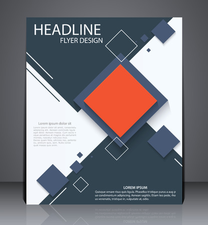 page design: Abstract digital business brochure geometric design with squares in A4 size, layout cover design in red and blue colors. Illustration