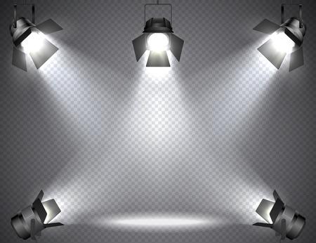 Reflektory z jasnymi światłami na przezroczystym tle. Ilustracje wektorowe