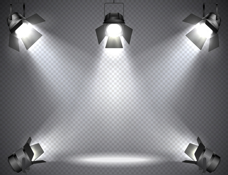Spotlights with bright lights on transparent background.