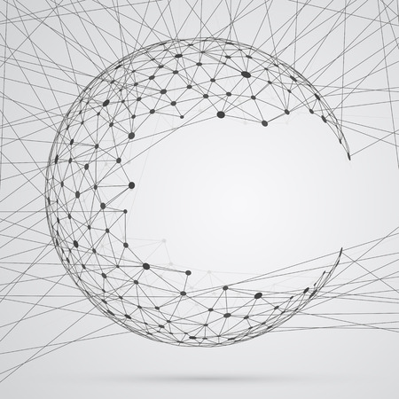 net: Abstract sphere of compounds with points. Global network connections Illustration