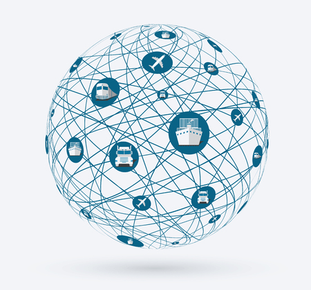 szállítás: Hálózatok globális kapcsolatok a szolgáltatások szállítási árut. Világkép, online vásárlás, szállítás a világ minden.