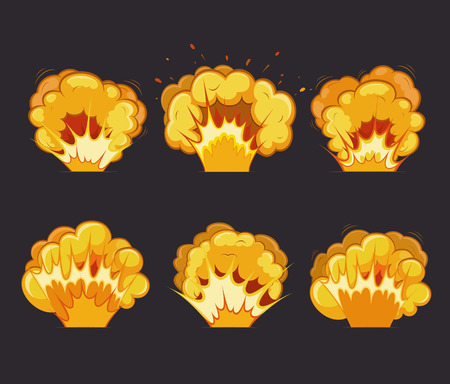 atomic explosion: Cartoon explosion effects with flash. Illustration