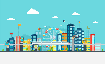 infraestructura: Lista Urbana de negocios con signos. concepto de negocio en l�nea con los tel�fonos de mano.