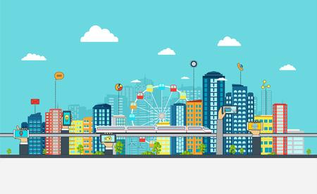 giao thông vận tải: Thành phố thông minh với bảng hiệu kinh doanh. khái niệm kinh doanh trực tuyến với điện thoại tay.