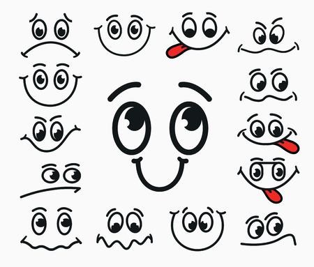 기쁨, 슬픔, 불만의 만화 표정. 입과 눈의 감정을 혀로.