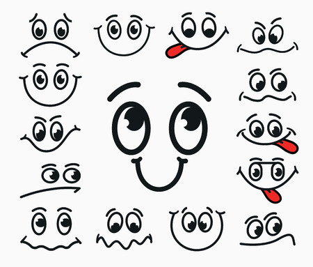gleeful: Cartoon facial expression of joy, of sadness, discontent. Emotions mouth and eyes with tongue.
