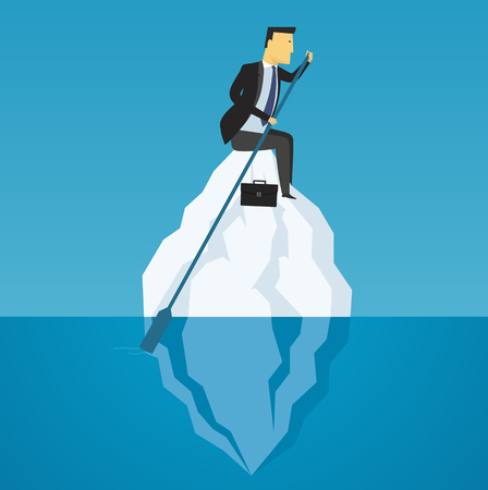 business challenge: Businessman floats on iceberg. Business challenge, motivation to success.