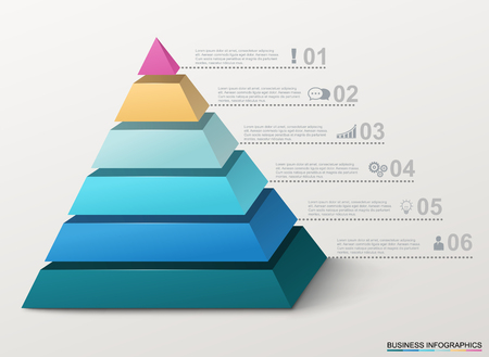 options: Infographic pyramid with numbers and business icons.