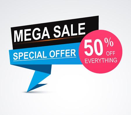 discount banner: Mega sale origami paper banner 50% discount
