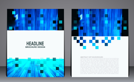 book cover design: Abstract blue modern flyer brochure, geometric template for presentations, annual report, book cover design.