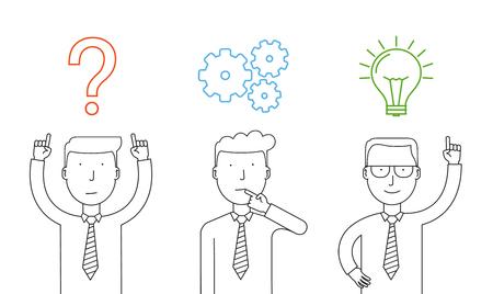 cogitation: Business thinking. Businessman thinking about reaching success.