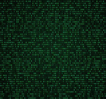sfondo verde della tabella con le cifre. codice di computer per la crittografia e la codifica, il codice dei dati, i numeri in calo. Vettoriali