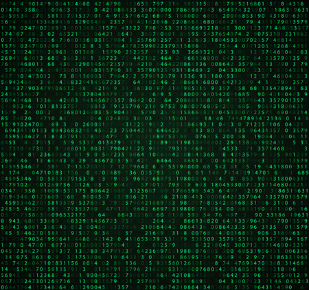 Green matrix background with digits. Computer code for encrypting and encoding, data code, falling numbers.