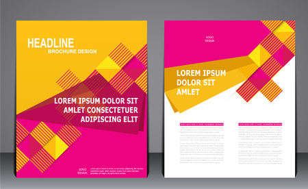 design template: Abstract business brochure flyer, design in A4 size, layout cover in yellow with pink colors, template for presentations.