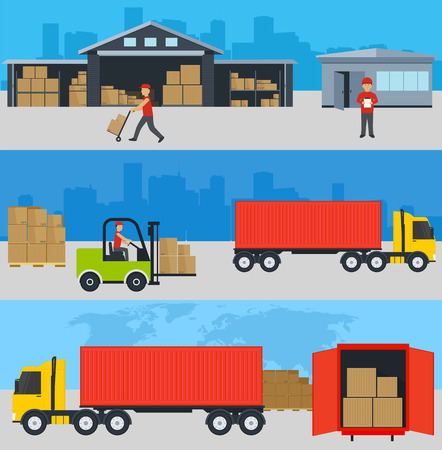 oncept: ?oncept of services in delivery of goods, loading and unloading of goods to a warehouse. World concept of delivery of goods, worldwide shipping. Illustration