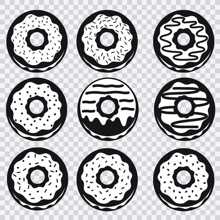 with fillings: Donuts icons with different fillings on a plaid background