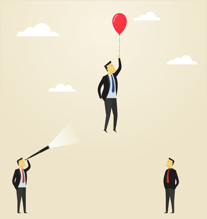 upside: Man flying upside in a balloon. Concept of business success. Leadership among the staff team.