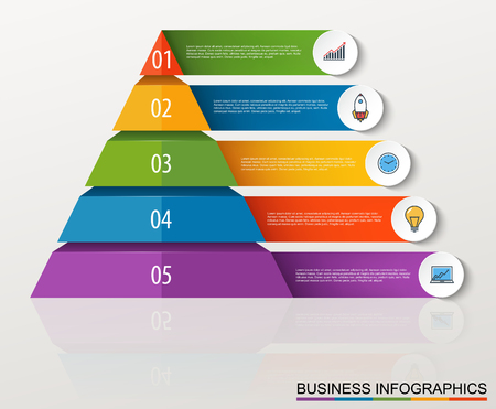 multilevel: Infographic multilevel pyramid with numbers and business icons.