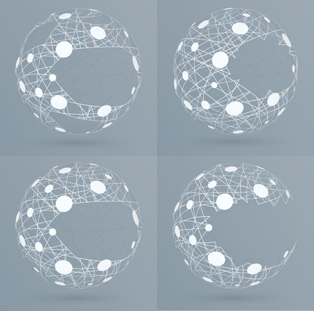 severed: Sphere mesh with bubbles. Abstract geometric shape with spherical severed off triangular faces.