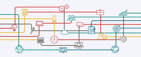 horizontal position: Network connections, planning and strategy of startup a business project. Information flow with icons in horizontal position.