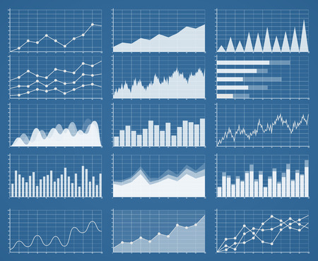 business management: Business graphics and charts set. Analysis and management of financial assets. Information on charts, statistical data. Growth and falling on Information graphics infographics.