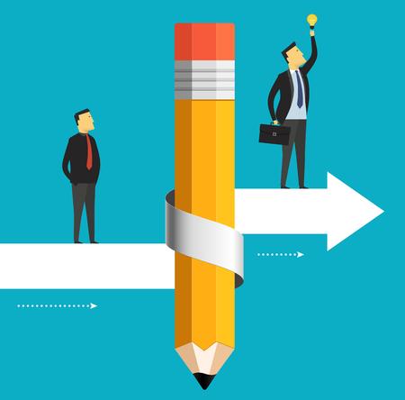 De zakenman is verhuizen naar het doel met inbegrip van een gloeilamp. Business concept potlood met pijl omhoog.