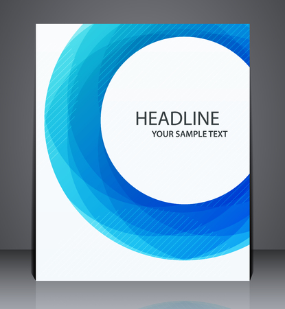 Afficheur de brochure commerciale abstraite, design géométrique avec cercle bleu, en format A4, couverture de présentation. Vecteurs