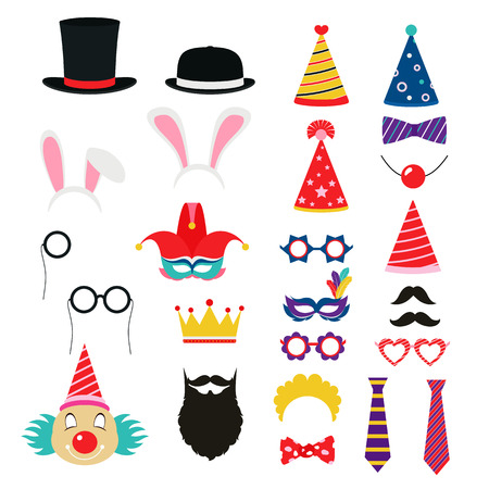 hair tie: Festive birthday party elements of props. Hats, glasses, masks, mustaches, elements for a suit. Illustration