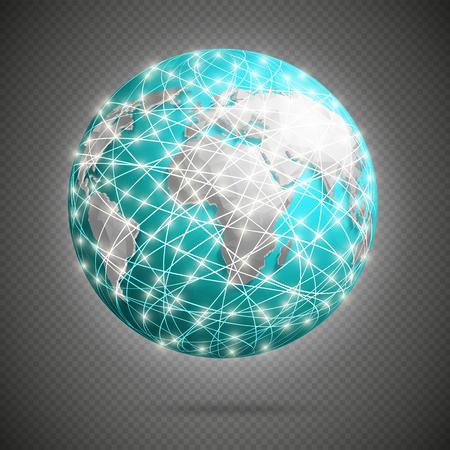 conexiones digitales globales con luces brillantes alrededor de la tierra, a la red.