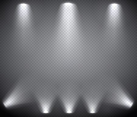 Scene illumination from above and below, transparent effects on a plaid dark  background. Bright lighting with spotlights.
