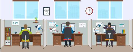 Interior de la oficina con los empleados. interior de la oficina moderna. Espacio de oficina con los diseñadores.