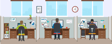 office space: Office interior with employees. Modern office interior. Office space with designers. Illustration