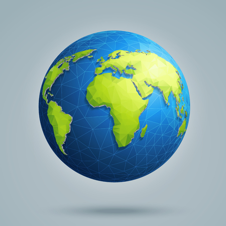 Polygonal 3D globe with global connections. Earth, world map.