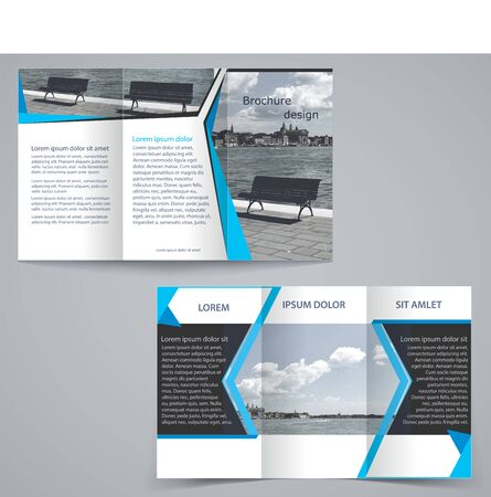 a4: Tri-fold business brochure template, two-sided template design in blue color.