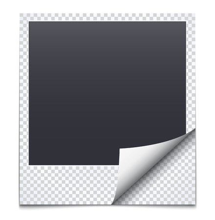 photoalbum: Black frame with checkered paper. Polaroid Illustration