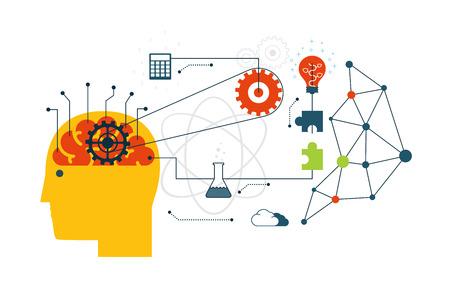tige: la technologie scientifique, ingénierie et internet concept mathématique avec des icônes plates. Infrastructure de réseau. Illustration