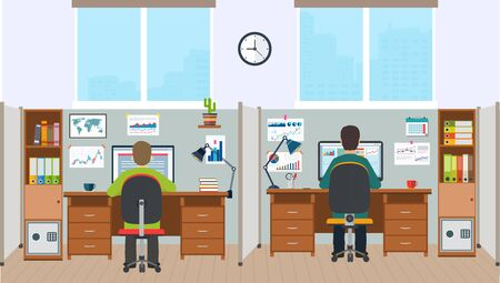 workstation: Workstation, office interior with employees. Office space with the workers. Illustration
