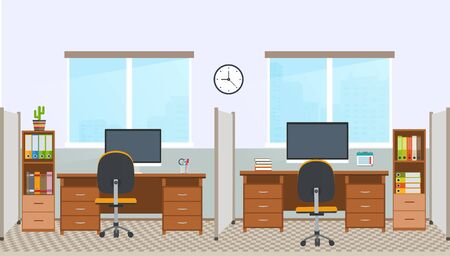 office space: Office interior with workstation. Workplace in office space.