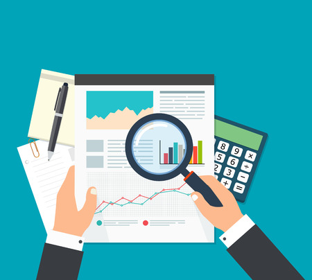 Business analyst, financial data analysis. Businessman with magnifying glass is looking financial reports. Illustration
