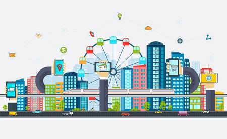 Smart City mit Business-Zeichen. Modernes Design Stadt der Zukunftstechnologien. Online-Business-Konzept mit einem Telefon in der Hand.