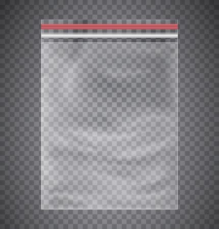 Plastic transparent bag with a closing strip.