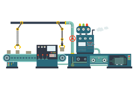 industrial construction: Industrial factory construction equipment. Machinery and manufacturing in engineering. Illustration