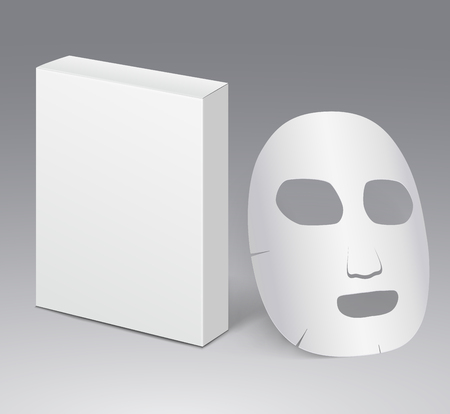 paper mask: Cosmetic face mask with blank white package.