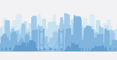 City panorama with skyscrapers, skyline. Illustration
