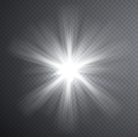 White light beam, transparent light effect. Glow with rays. Vector Illustration
